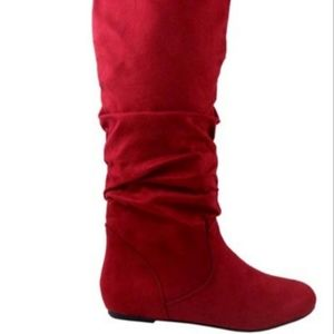Red tall boots